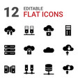 12 hosting icons vector image vector image
