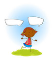 a happy girl with speech balloon vector image vector image