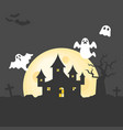 abandoned house on graveyard with spooky tree vector image