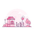 amusement park - thin line design style vector image vector image