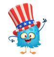 amusing fluffy blue cartoon monster vector image