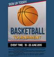 basketball tournament flyer or poster vector image vector image
