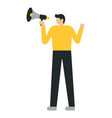 business man or a clerk with loudspeaker vector image vector image