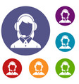 business woman with headset icons set vector image vector image