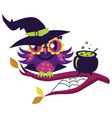 cartoon owl in halloween costume of witch mystery vector image vector image