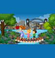 children at ourdoor nature background vector image