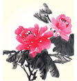 chinese flower painting vector image vector image