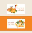 citrus fresh orange fruit business card backdrop vector image vector image