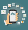 concept of cloud services on mobile phone such as vector image vector image