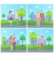 couples in love in city park skyscrapers nature vector image vector image