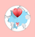 creative valentines day postcard paper cut style vector image vector image