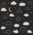cute baclouds stars moon pattern vector image