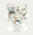 cute little boy sleeping with cat baby shower vector image