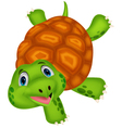 Cute turtle cartoon standing with hand vector image vector image