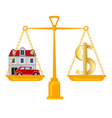 dollar and premises with car on weight vector image vector image