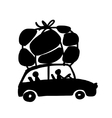 Family traveling by car with luggage vector image