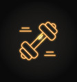 fitness barbell icon in glowing neon style vector image