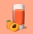 Full glass of peach juice vector image vector image