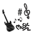 hand drawn music doodles vector image