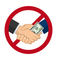 Handshake with bribe over prohibitive sign vector image vector image