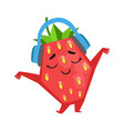 happy funny strawberry dancing and listening to vector image vector image