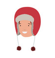 head of man with winter hat avatar character vector image vector image