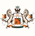 heraldic design with coat arms horses and crown vector image vector image