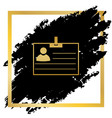 id card sign golden icon at black spot vector image vector image