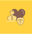 insurance family home protect heart flat line vector image