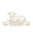 isolated vintage gold emblem for farm with lamb vector image vector image