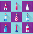lighthouse icons set in flat style with long vector image vector image