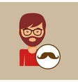 man bearded hipster and mustache icon vector image vector image