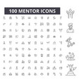 mentor editable line icons 100 set vector image vector image