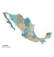 mexico higt detailed map with subdivisions vector image vector image