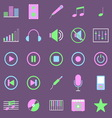 Music color icons on violet background vector image vector image