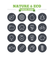 Nature and Eco linear icons set Thin outline vector image vector image