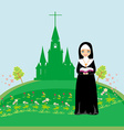 Nun praying in front of the church vector image
