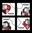 poker card sign king casino gamble set vector image vector image