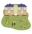 preschool building children and vector image vector image