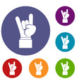 rock and roll hand sign icons set vector image vector image