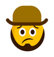 sad emoji with a gentleman hat vector image vector image