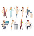 science people characters chemistry biology vector image vector image