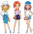 set cute fashionable girls vector image vector image