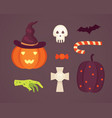 set halloween in cartoon vector image