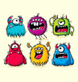 set isolated funny furry monsters vector image vector image