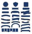 set of blue ribbon baner vector image vector image