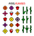 set various colorful pixel flowers vector image vector image