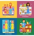 Shopping Concept 4 Icons Banner Square vector image vector image