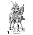 soldier on horse vintage vector image vector image
