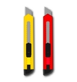 stationery knife red and yellow vector image vector image